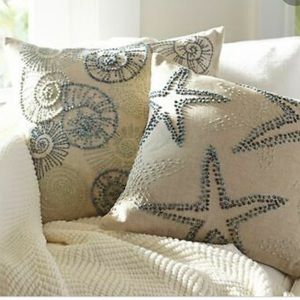 Pottery Barn Embroidered Shell Pillows